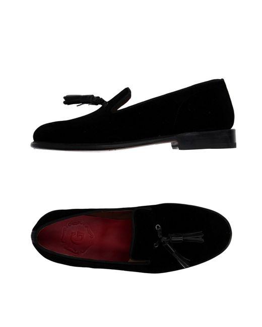 GRENSON - Black Tasseled Velvet Moccasins - Lyst