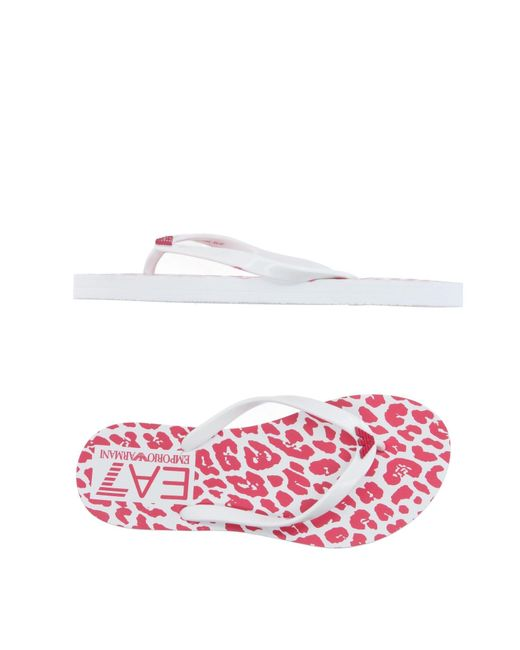 EA7 | White Toe Post Sandal | Lyst
