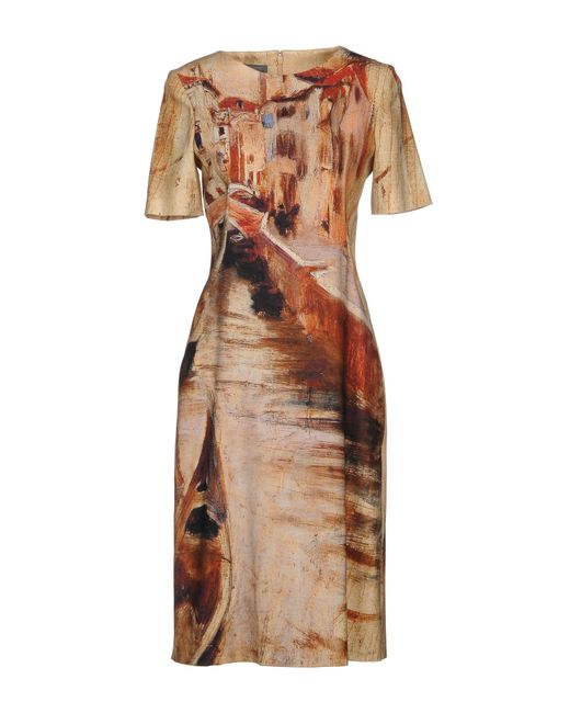 Alberta Ferretti - Natural Knee-length Dress - Lyst