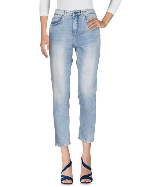 Ichi - Blue Denim Trousers - Lyst