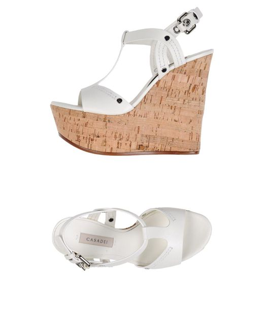 Casadei - White Sandals - Lyst