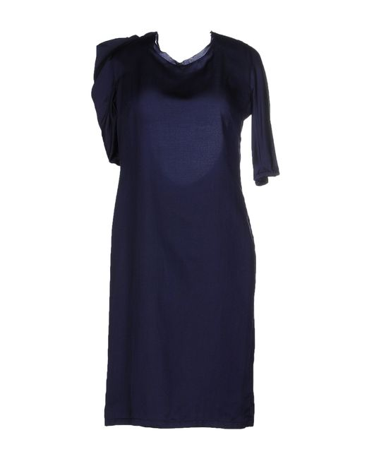 Jil Sander | Blue Wool-twill Midi Dress | Lyst