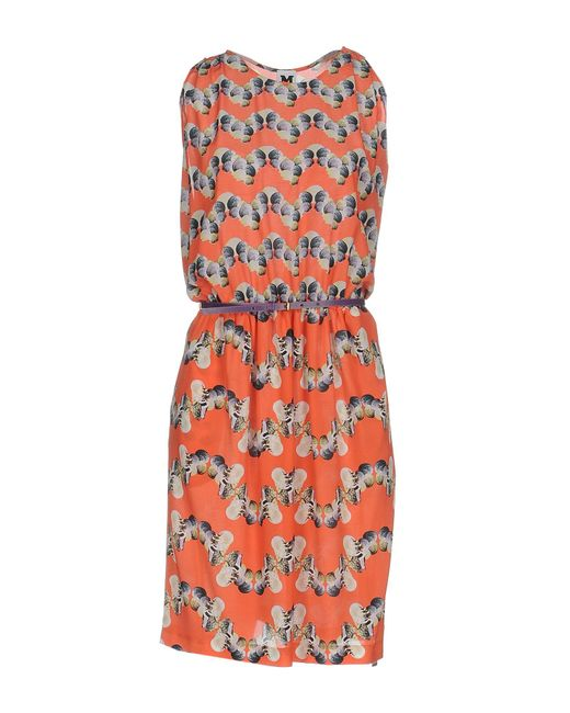 M Missoni | Orange Knee-length Dress | Lyst