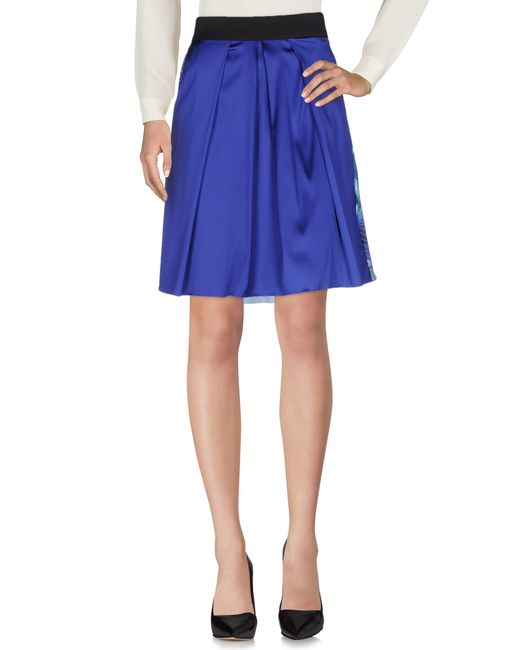 Satine Label | Blue Knee Length Skirt | Lyst