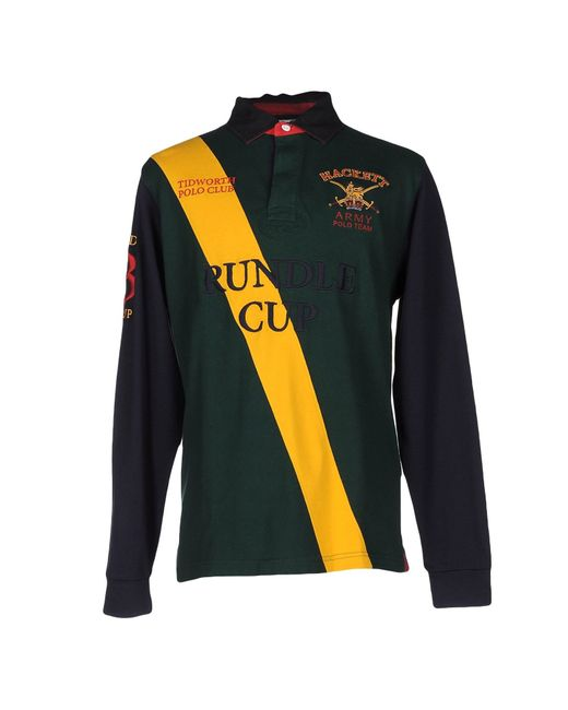 Hackett polo shirt in green for men dark green lyst for Dark green mens polo shirt