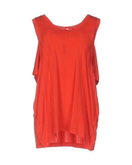 MM6 by Maison Martin Margiela - Red T-shirts - Lyst