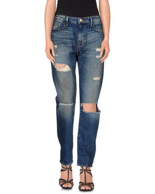 FRAME | Blue Denim Pants | Lyst