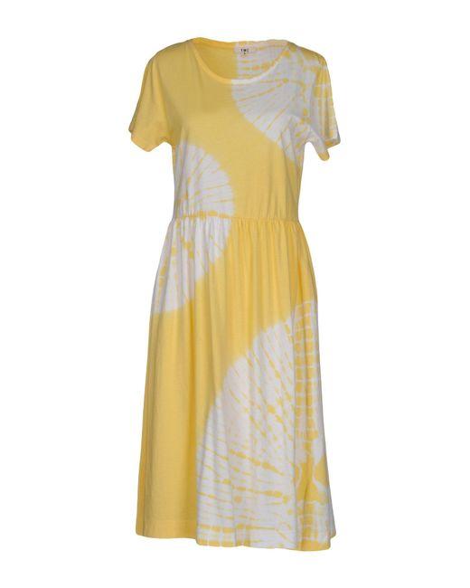 YMC - Yellow Knee-length Dress - Lyst