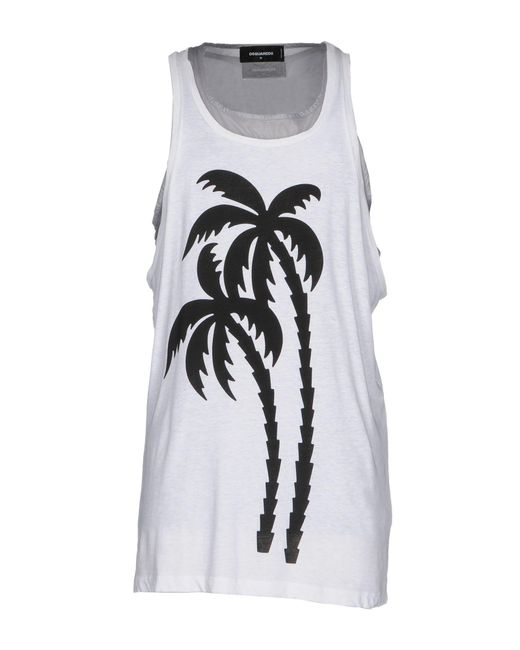 DSquared² - White Tank Top for Men - Lyst ... 4fa32a358