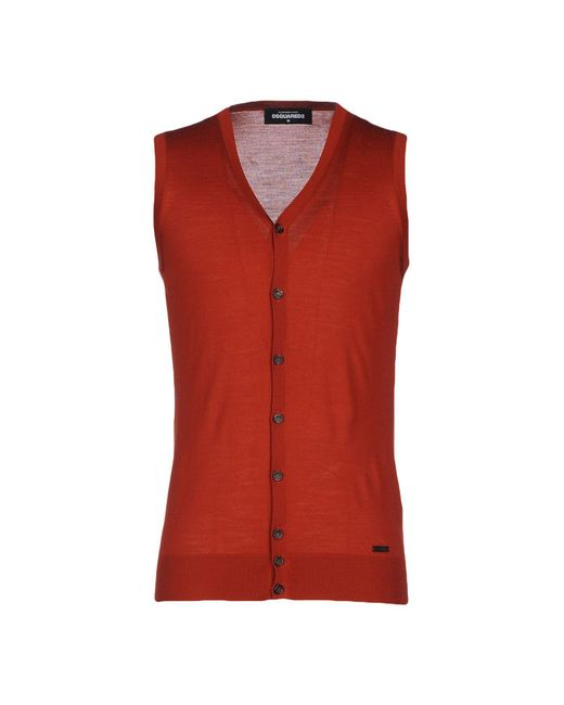 DSquared² - Red Cardigan for Men - Lyst