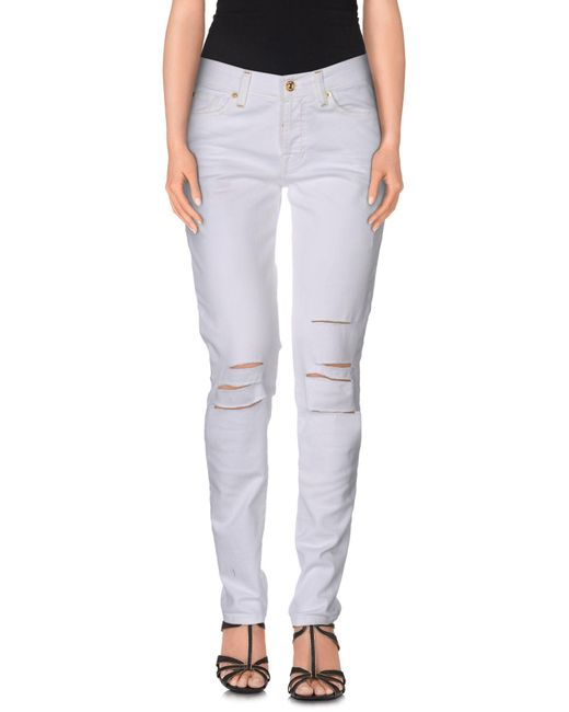 7 For All Mankind | White Denim Trousers | Lyst