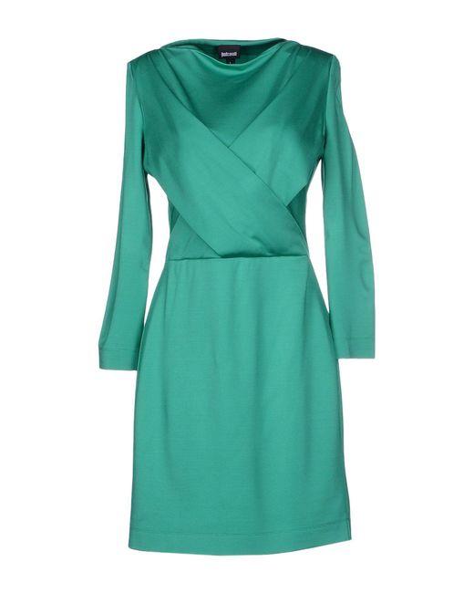 Just Cavalli - Green Faux-Wrap Jersey Mini Dress - Lyst