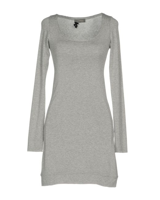 Soallure - Gray Short Dress - Lyst