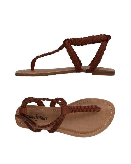 Minnetonka - Brown Toe Strap Sandal - Lyst