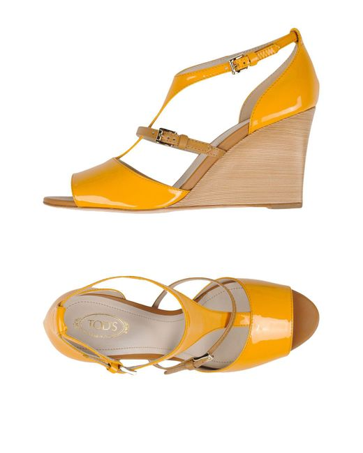 Tod's - Yellow Sandals - Lyst