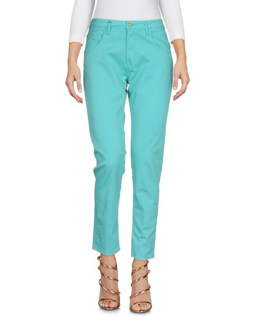 TRUE NYC - Green Denim Trousers - Lyst