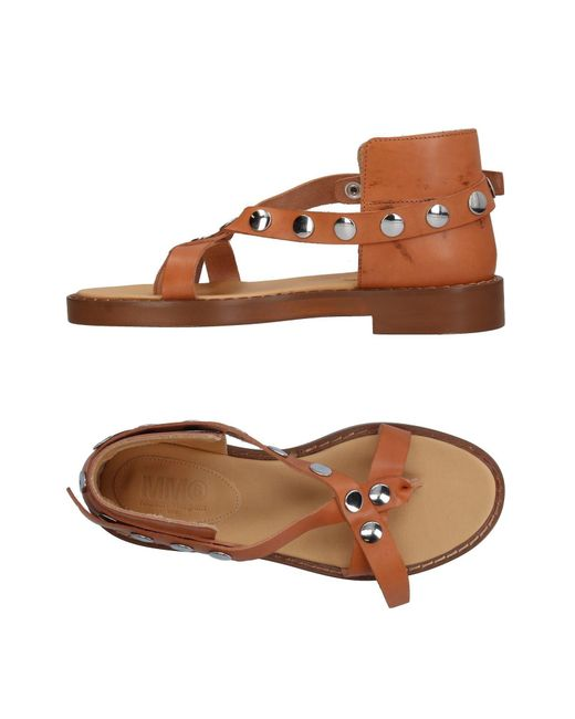 MM6 by Maison Martin Margiela - Brown Toe Strap Sandal - Lyst