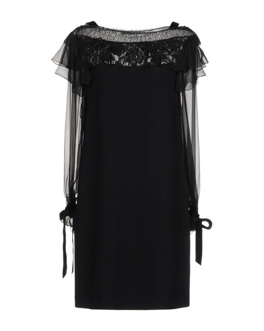 Alberta Ferretti - Black Short Dress - Lyst