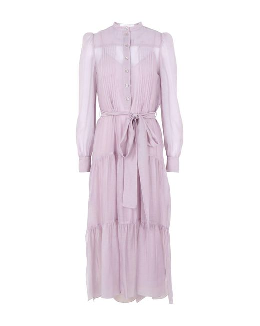 Women's Purple Belted Tiered Organza Midi Dress by See By Chloé