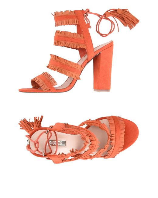 Guess - Orange Econi Fringe Sandal - Lyst