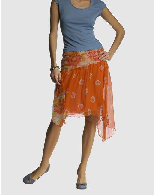 Blumarine - Orange Knee Length Skirt - Lyst
