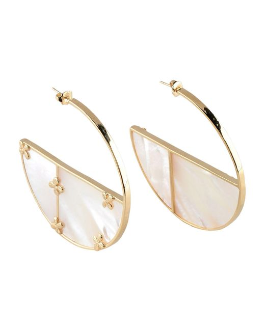 Aurelie Bidermann - White Bianca 18kt Gold Plated Earrings With Mother Of Pearl - Lyst