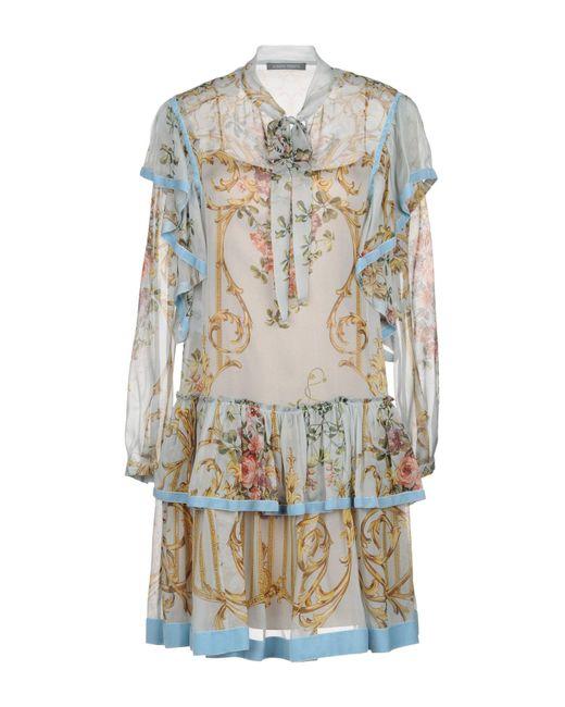 Alberta Ferretti - Green Short Dress - Lyst