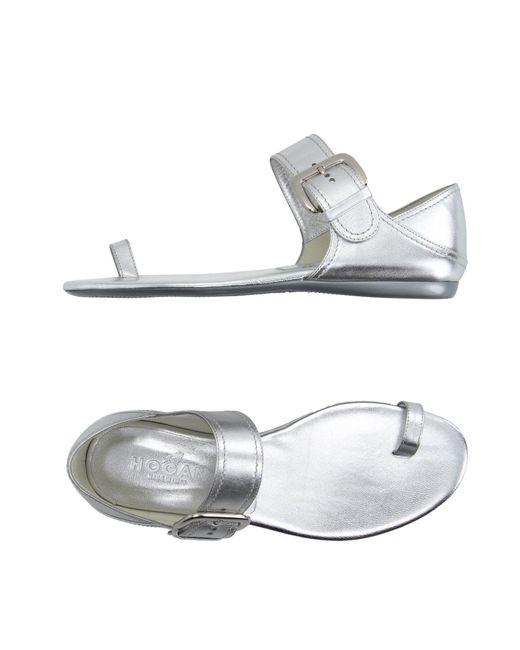 Hogan - Metallic Toe Post Sandal - Lyst