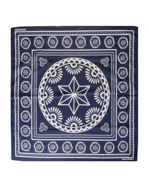 DSquared² - Blue Square Scarf for Men - Lyst