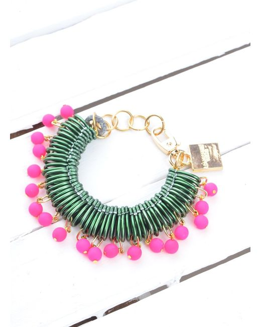 Longshaw Ward | Bracelet In Dark Green/neon Pink | Lyst