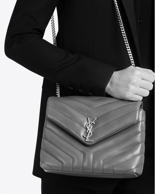 Lyst Saint Laurent Small Loulou Chain Bag In Powder