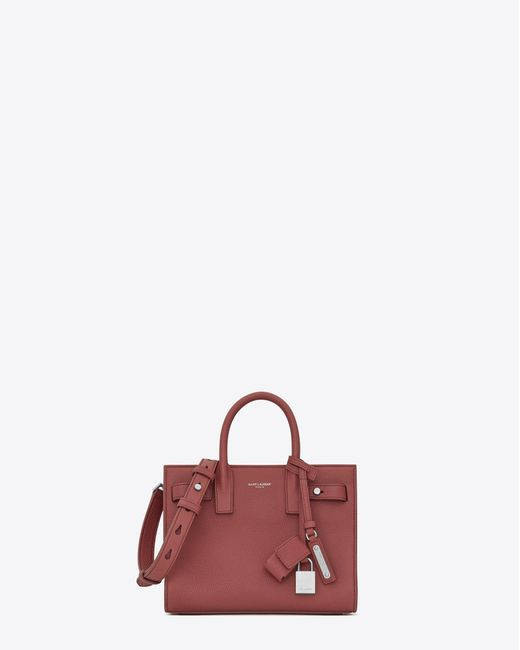 Saint Laurent | Pink Nano Sac De Jour Souple Bag In Dark Rose Grained Leather | Lyst