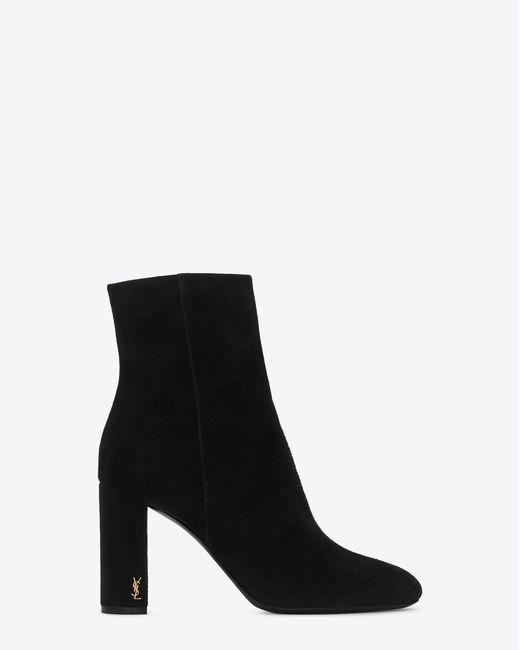 Saint Laurent | Loulou 95 Zipped Ankle Boot In Black Suede | Lyst