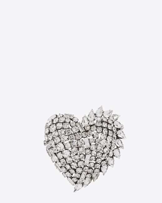 687c5ef5ec5 ... Saint Laurent - Metallic Smoking Heart Brooch In Silver And Clear -  Lyst ...