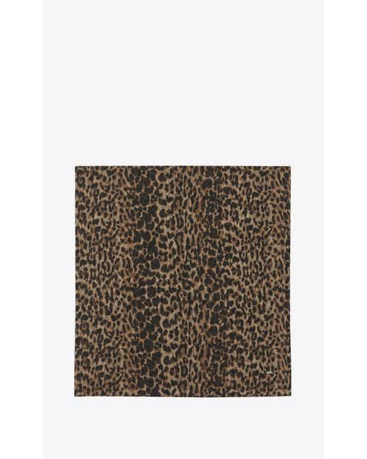 Saint Laurent - Natural Large Square Scarf With Small Leopard Print In Beige And Black Etamine - Lyst