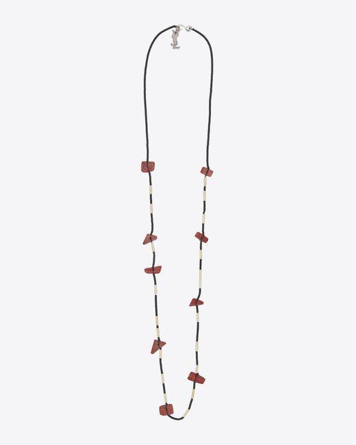 Saint Laurent - Metallic Collier en laiton argent et pierres rouges for Men - Lyst