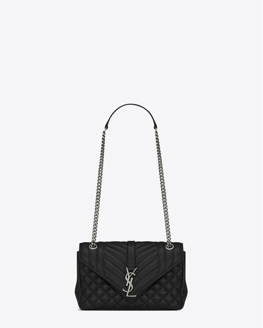 Saint Laurent | Classic Medium Soft Enveloppe Monogram In Black Leather | Lyst