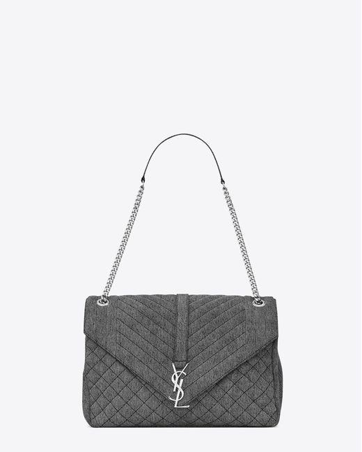 Saint Laurent | Gray Large Soft Envelope Monogram In Washed Grey | Lyst