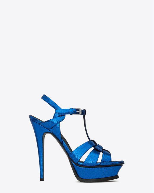 Saint Laurent | Tribute 105 Sandal In Metallic Blue Cracked Leather | Lyst