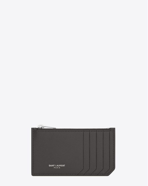 Saint Laurent - Multicolor Paris 5 Fragments Zip Pouch In Dark Anthracite Textured Leather - Lyst