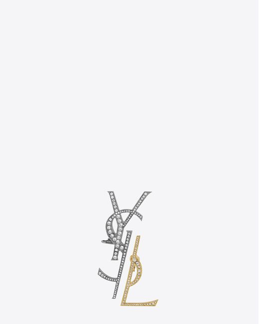 Saint Laurent | Gray Monogram Deconstructed Earrings In Gunmetal, Gold And Clear | Lyst