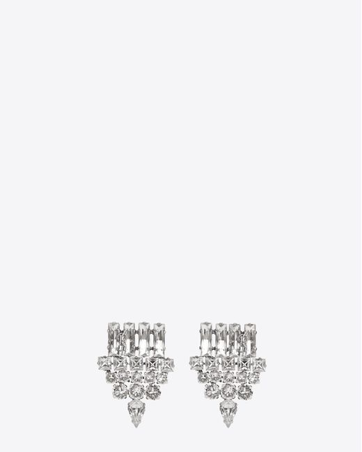 Saint Laurent | Metallic Smoking Earrings In Silver And Clear | Lyst