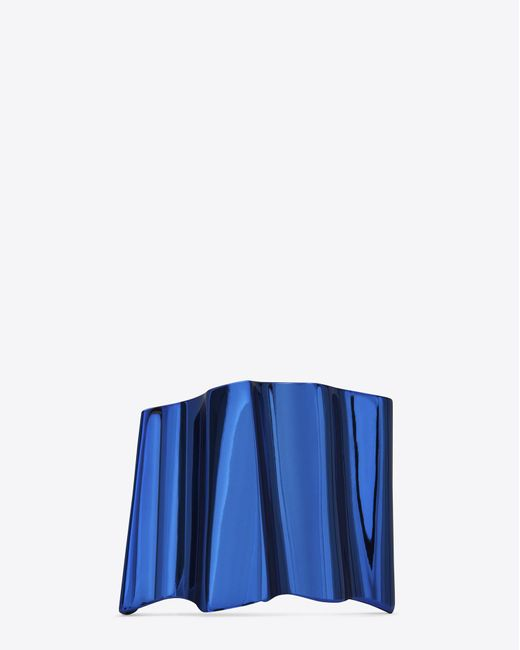 Saint Laurent | Babylone Cuff In Metallic Blue Brass | Lyst