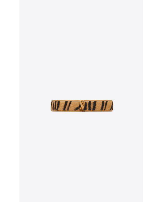 Saint Laurent - Metallic Narrow Animal Bracelet In Gold Metal And Tiger-look Calfskin - Lyst