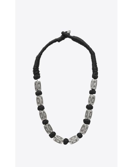 Saint Laurent - Black Collier FOLK à perles en métal argenté for Men - Lyst
