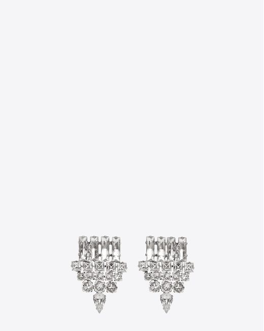 Saint Laurent - Metallic Smoking Earrings In Silver And Clear - Lyst