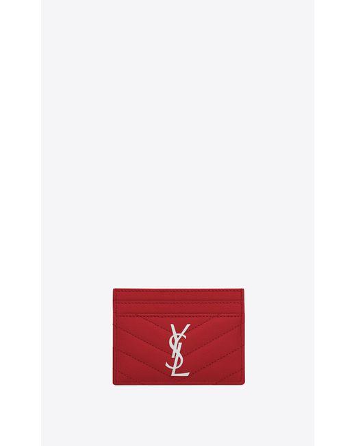 Saint Laurent Red Monogram Zipped Card Case