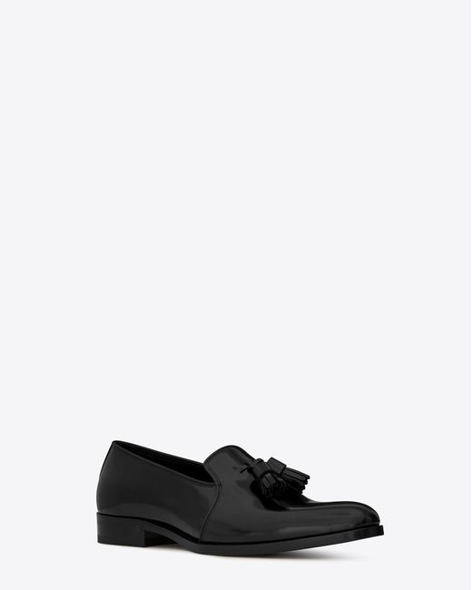 Saint Laurent - Black Mocassin à pompons MONTAIGNE 25 en cuir noir for Men - Lyst