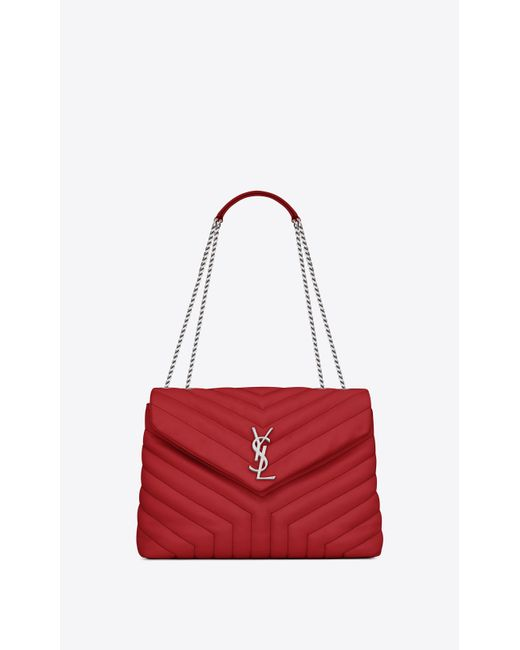 d5d0513515 Saint Laurent - Medium Loulou Monogram Chain Bag In Lipstick Red