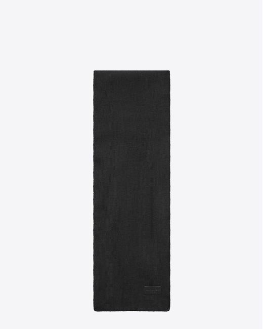 Saint Laurent - Black Écharpe tricotée en laine noire for Men - Lyst